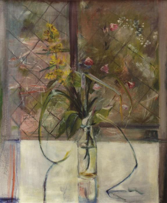 Melkfles met wilde bloemen - olie/doek 55x45 cm; ongesigneerd en ongedateerd