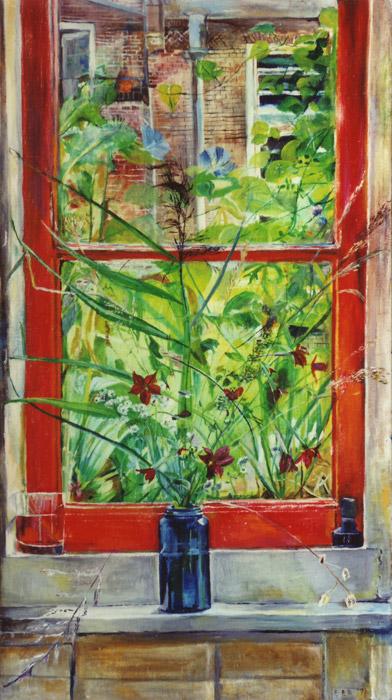 Keukenraam met blauw vaasje met bloemen - olie/doek 90x50 cm - E.E.R. '74; rechtsonder