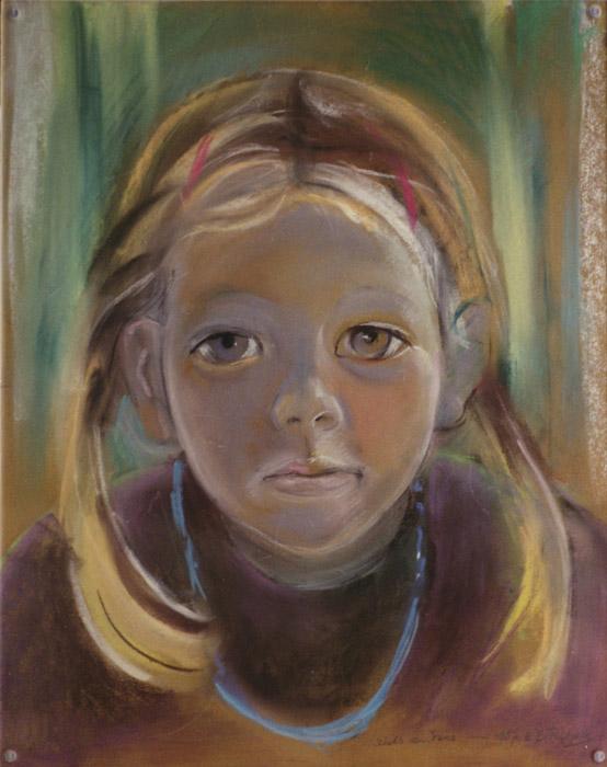Irene v.d. Plas - pastel 42x34.5 cm - schetsvan Irene aug. 1987 E.E. Rietveld; rechtsonder
