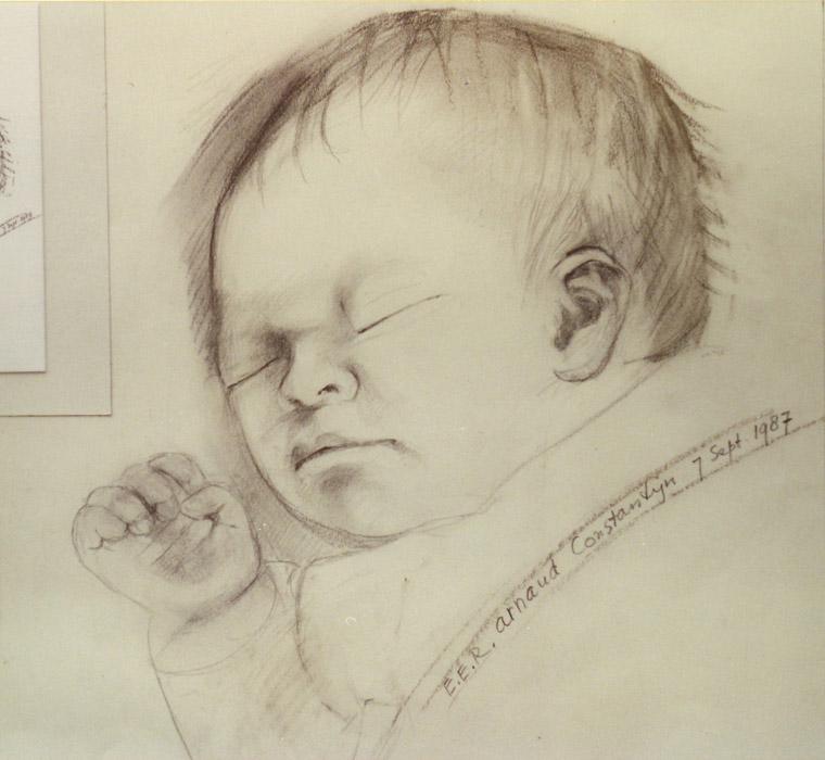 Schets voor geboortekaartje Arnaud Constantijn - potloodtekening/papier? 27x29.5 cm - E.E.R. 7 sept. 1987; schuin rechtsonder