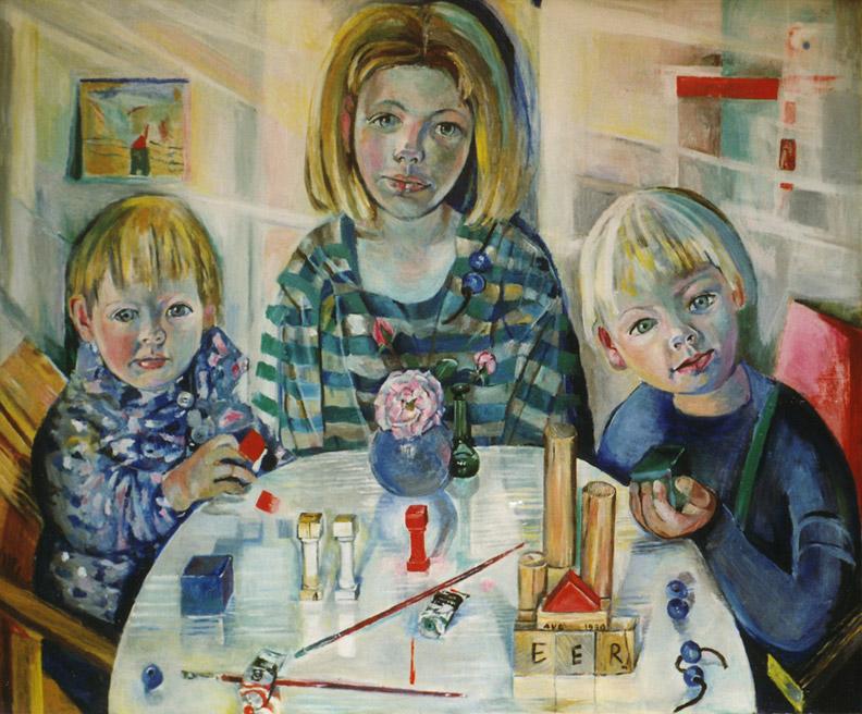 Irene, Fons en Ruben - acryl?/hout, 112x84 cm - EER aug 1990; rechtsonder