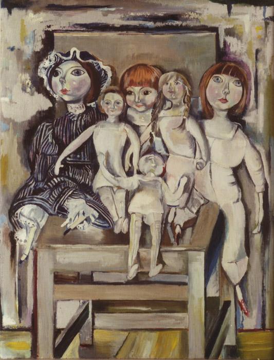 Poppetjes van Vrouwkje op stoeltje - acryl/olieverf/masonite 85x65 cm - E. Eskes-Rietveld '78; linksonder
