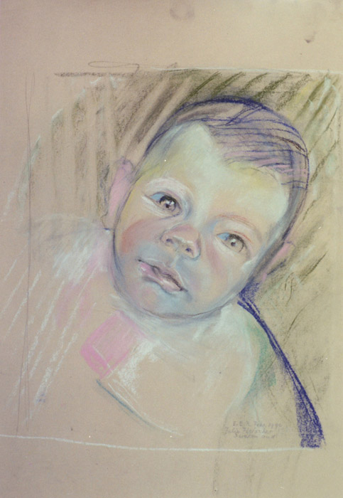 Julie Fleischer 3 weken oud- pastel 32x27 cm- E.E.R. febr. 1990; rechtsonder