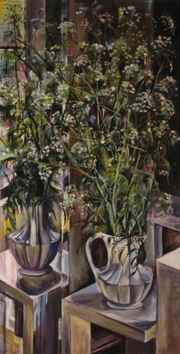 Vaas met fluitekruid op Steltmanstoel voor spiegel - acryl, olieverf/hout 127x63.5 cm - Elis. Eskes-Rietveld juni 1979; linksonder