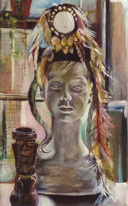 Beeldje met hoed met spiegeltje - acryl/spaanplaat 64.5x38.5 cm - EER '79; rechtsonder