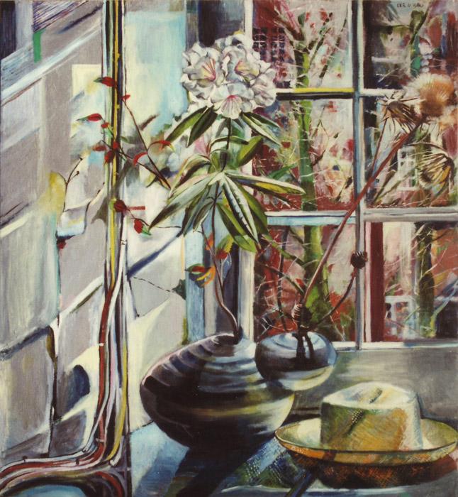Televisiekabels, kunstbloem en hoed voor raam - acryl/hout 96x89 cm - EER 4. 1980; rechtsboven