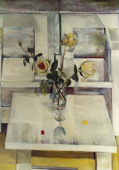 Drie gele rozen en één rood roosje met stoelen - acryl/masonite 134x104,5 cm - EER '81; rechtsboven