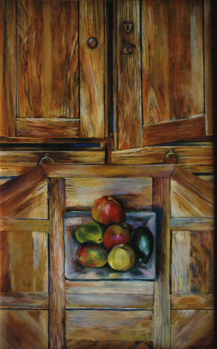 Kast, tafel, schaal fruit - acryl/hout 121x74 cm - EER 81; rechtsonder