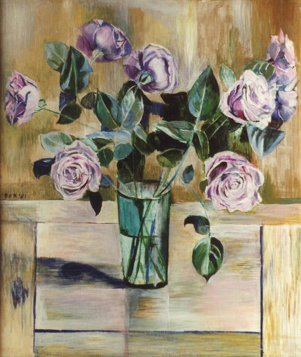 Paarse roosjes op houten tafel - acryl/masonite 55x45 cm - EER '81; linksmidden