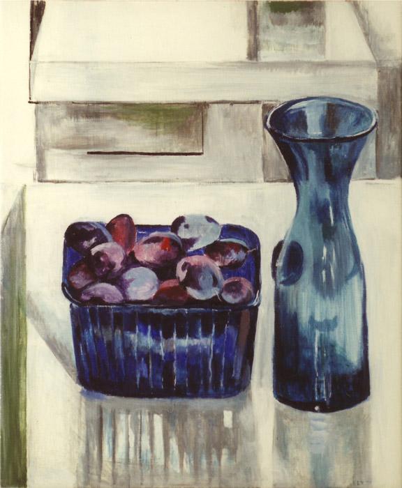 Blauwe fles en pruimen - acryl/masonite 60x50 cm - EER '81; rechtsonder