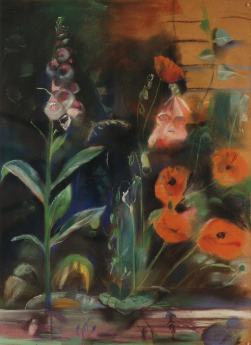 Klaprozen en digitalis - pastel 65x49,5 cm - Elis. Eskes-Rietveld zomer 1983; rechtsonder