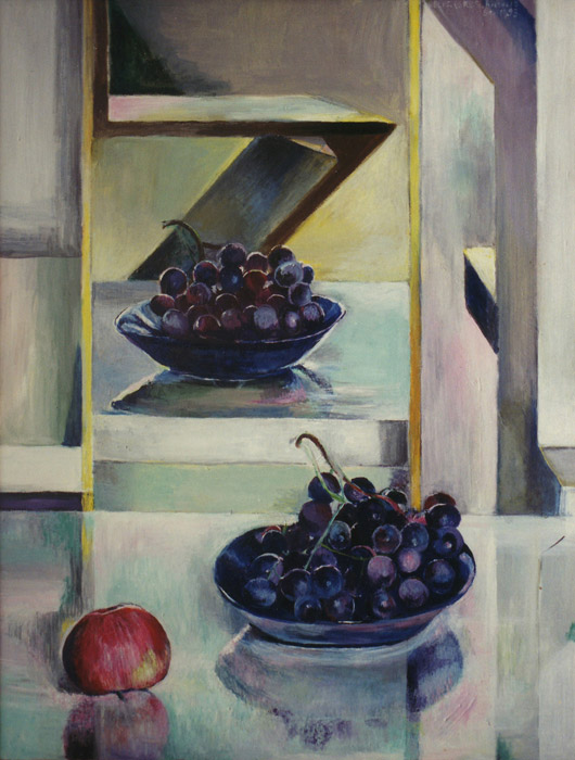Appel en druiven met zigzagstoel in spiegelbeeld - acryl/masonite 64,5x49 cm - Elis. Eskes-Rietveld 1983; rechtsboven