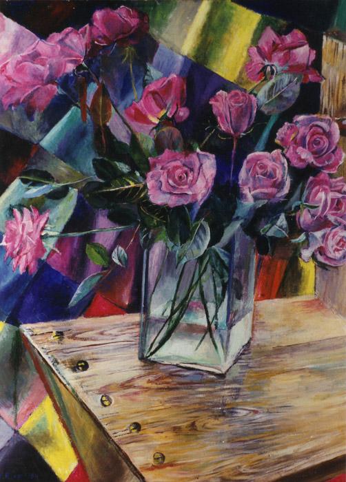 Vaas met rozen op zig-zagstoel met gordijn = acryl/masonite 55x45 cm - E.E.R. april '84; linksonder