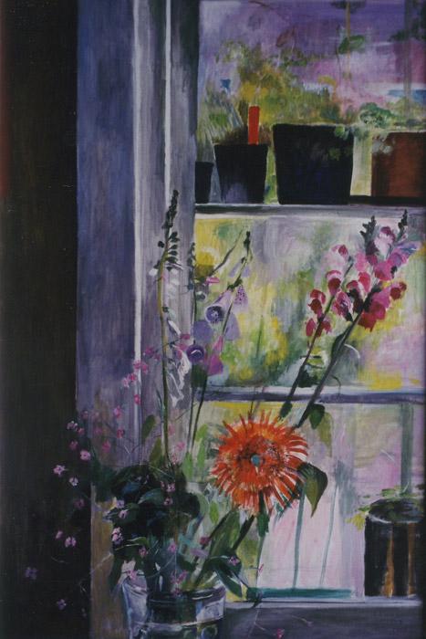 Bloemen voor raam - acryl/masonite 90x60 cm - E. Eskes-Rietveld juni 1985; rechtsonder