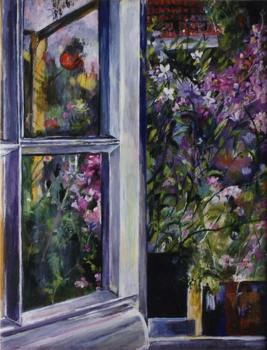 Open raam met bloemen - acryl/masonite 50x40 cm - E. Eskes-Rietveld juli 1986; rechtsonder
