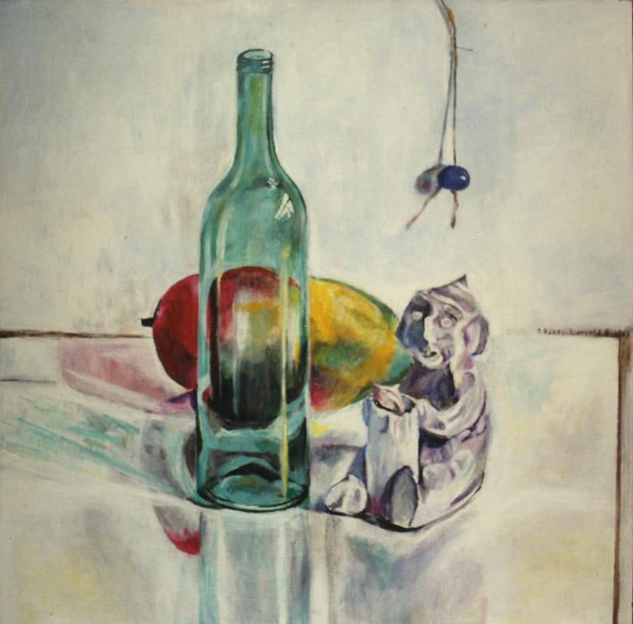 Fles, mango en beeldje gemaakt door Ellen - acryl/masonite 50x50 cm - E. Eskes-Rietveld 8. 1986; rechtsmidden