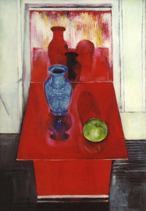 Blauw vaasje met appel op rode zigzag-stoel - acryl/masonite 80x58,5 cm E. Eskes-Rietveld 1986; rechtsonder