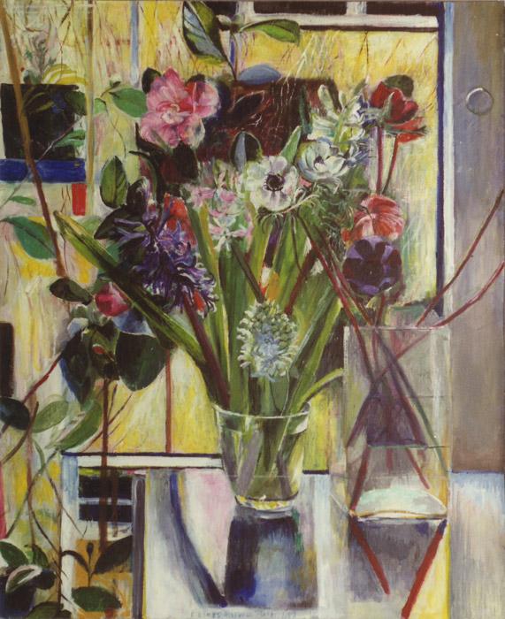 Glas met bloemen voor bloeiende camelia's - acryl/masonite 61x50 cm - E. Eskes-Rietveld maart 1987; middenonder
