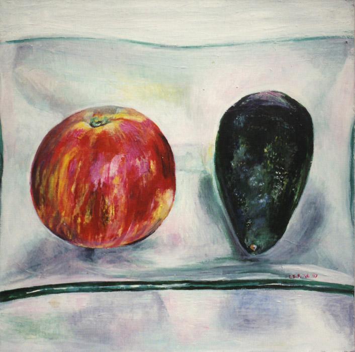 Appel met avocado - acryl/masonite 35x35 cm - EER juli '87; rechtsonder