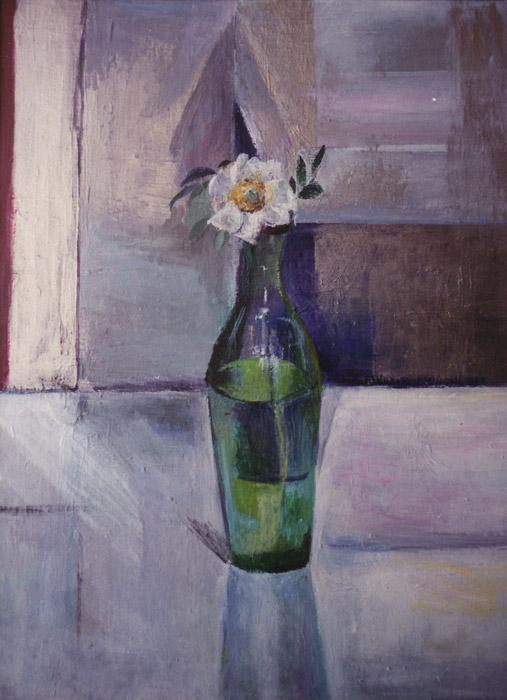 Flesje met wit roosje - acryl/masonite 41x30 cm - E. Eskes-Rietveld juli 1987; rechtsmidden