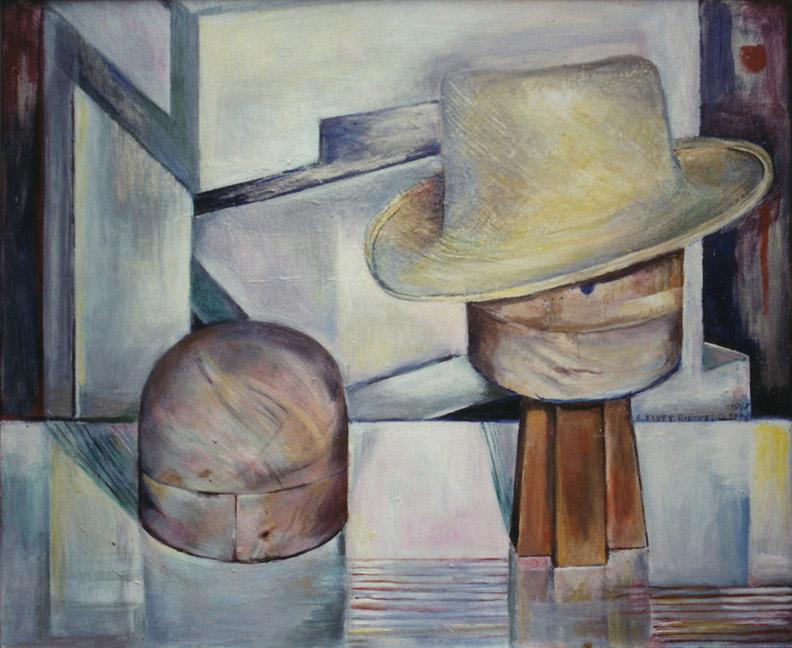 Twee hoedekoppen met hoed - acryl/masonite 50x60 cm - E. Eskes-Rietveld sep 1987; rechtsmidden