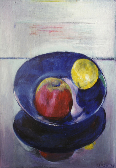 Blauw bord met appel en citroen - acryl/masonite 41x29 cm - EER dec. 1987; rechtsonder