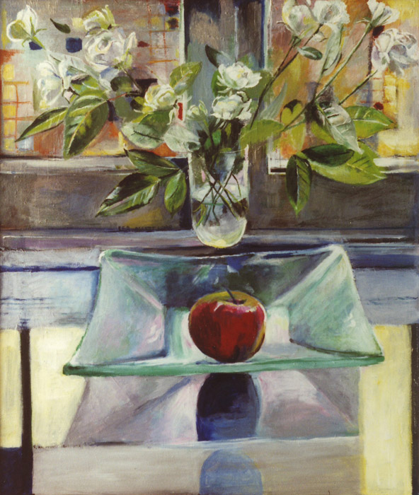 Appel en rozen in Lentezon - acryl/masonite 63x54 cm - E.E.R. maart 1988; centrumlinks