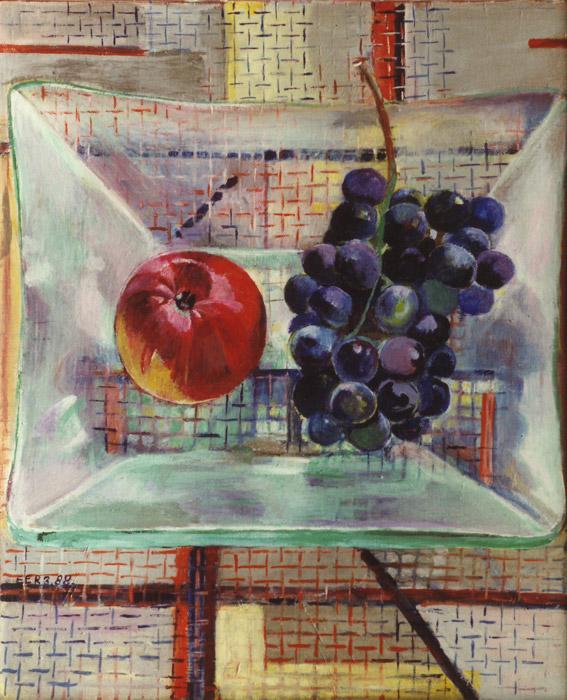 Vruchten in glazen schaal op draadglas tafeltje - acryl/masonite 50x41 cm - E.E.R. 3. 88; linksonder