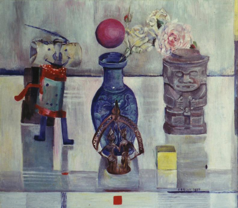 'Spulletjes op de schoorsteenmantel' - acryl/masonite 57x64 cm -  EER juli 1988; rechtsonder