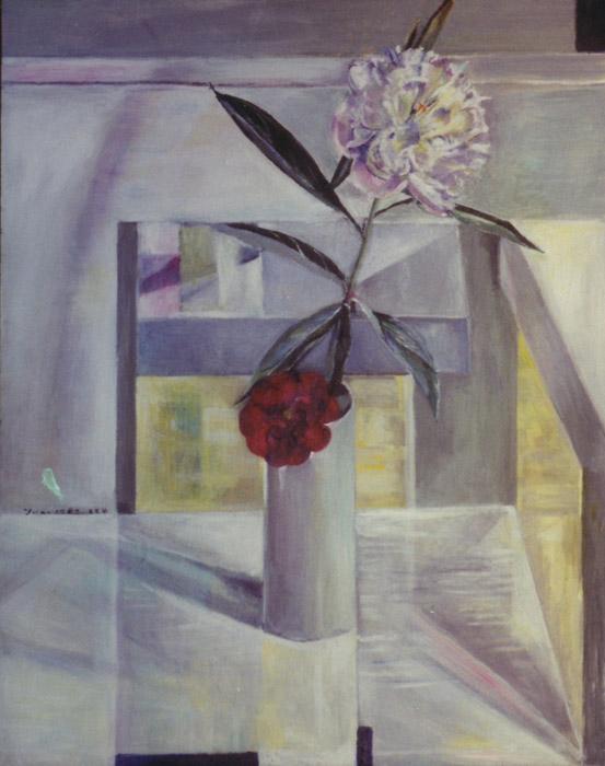 stilleven 'bloemen in vaas op Steltmanstoel' acryl? cm -  juni? 1989? EER; linksmidden