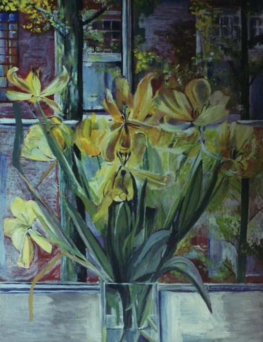stilleven 'uitgebloeide tulpen' acryl? cm - E? Eske-Rieveld ? 1989?; rechtsonder