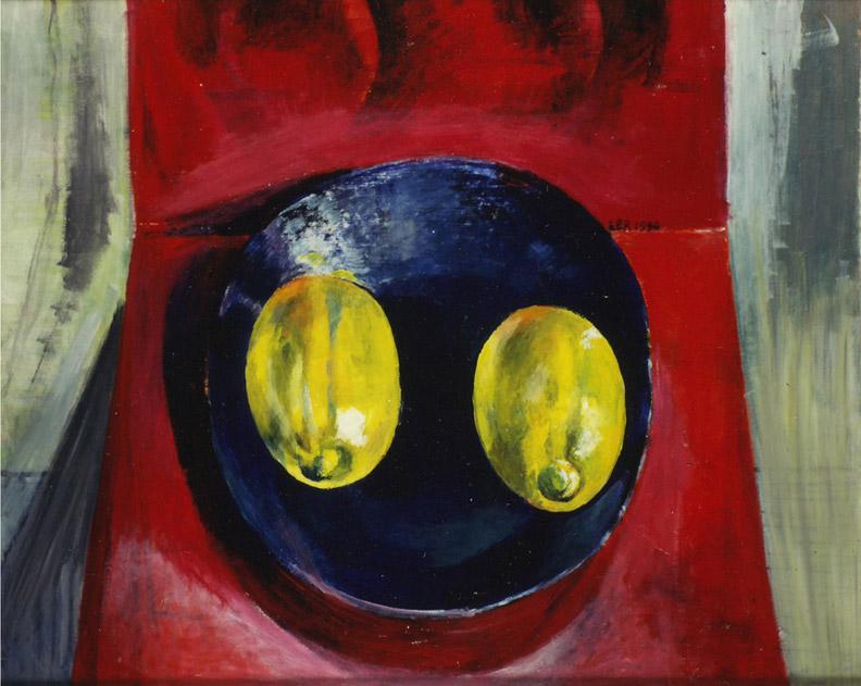 Stilleven 'blauw bordje met 2 citroenen op rode zigzagstoel -  acryl/masonite 50x40 cm - EER 1990; rechtsmidden