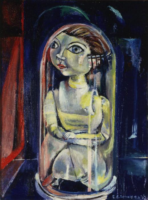 stilleven 'popje onder glazen stolp' - acryl/? cm - B? E. Rietveld1992; rechtsonder