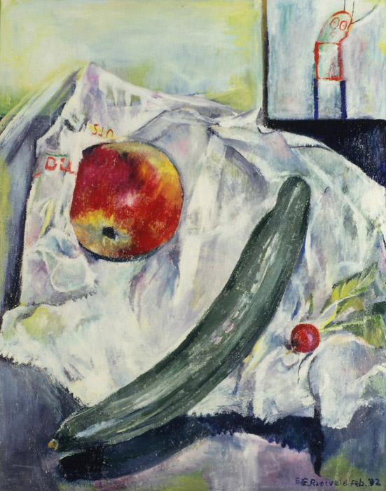 Stilleven 'appel, komkommer en radijs op papieren zak' - acryl? cm -  BE- Rieveldfeb. '92; rechtsonder