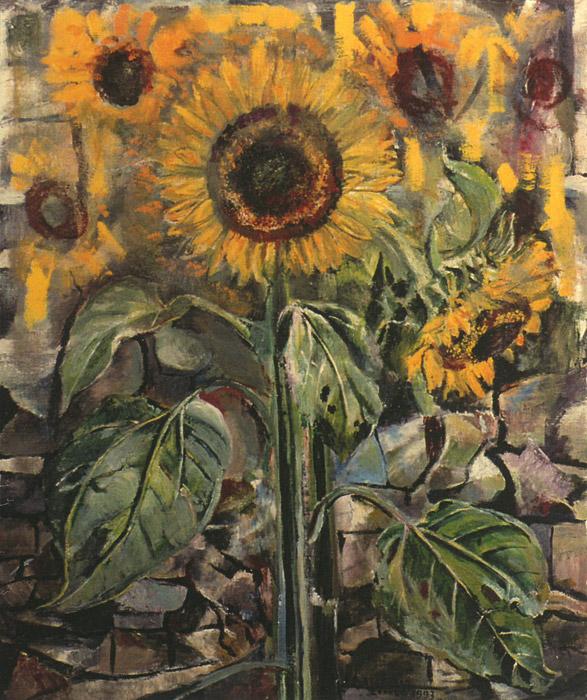 stilleven 'zonnebloemen voor stenen muur' - acryl/doek 48x59 cm - E E Rietveld ZOMER 1993; rechtsonder