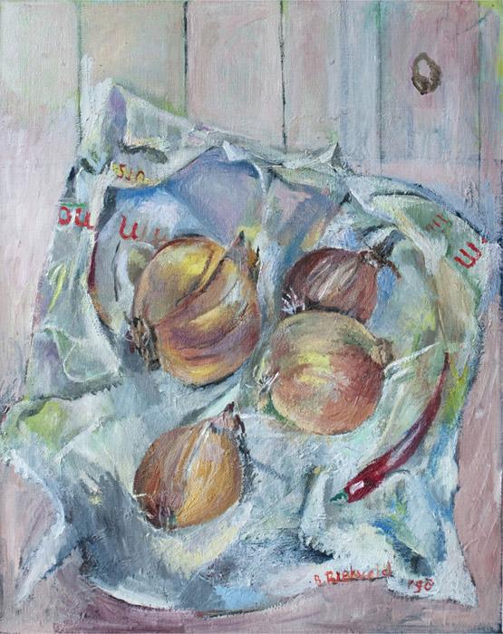 Stilleven 'uien en spaanse peper op papieren zak' - olie?/doek, 38,5 x 48 cm - B. Rietveld '98; rechtsonder