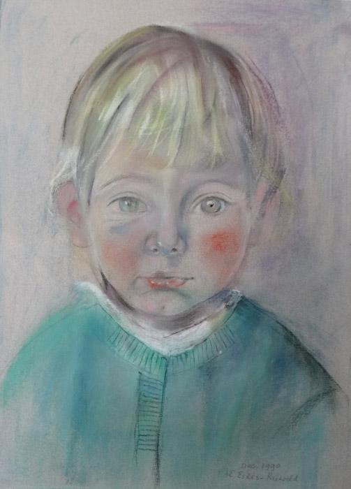 Aleid, kleindochter van Marjolene Cohen Tervaert - pastel/papier 33x44,5 cm - Dec. 1990 E Eskes-Rietveld; rechtsonder