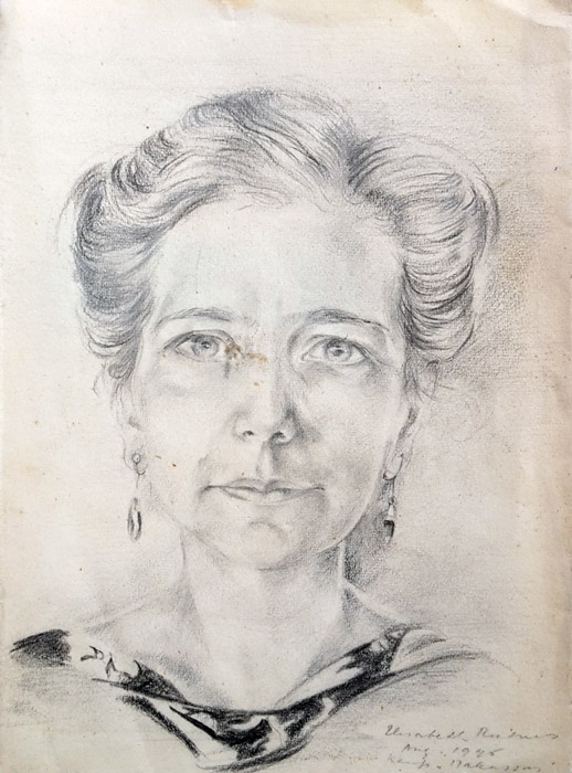 Annie van Houtrijve-Postema - potlood/papier 10x14 cm - Elisabeth Rietveld Aug. 1945 kampong Makassar, rechtsonder