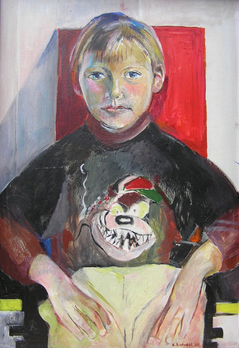 Arnaud van der Veen - acryl/linnen 75x50 cm – E. Rietveld '98; rechtsonder