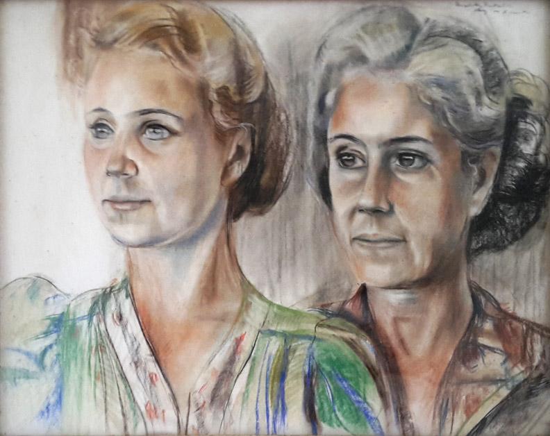 Dubbelportret in kamp Kramat - Pastel op papier, 48,5 x 63,5 cm - rechtsboven: Elisabeth Rietveld Aug '44 Kramat. Het is onbekend wie de twee vrouwen zijn op dit dubbelportret dat Bep in augustus 1944 in Kramat (Batavia) van hen maakte. De huidige eigenaren hebben het gekregen van iemand die het in een kringloopwinkel kocht. Ze vinden het mooi en het hangt in hun huiskamer.