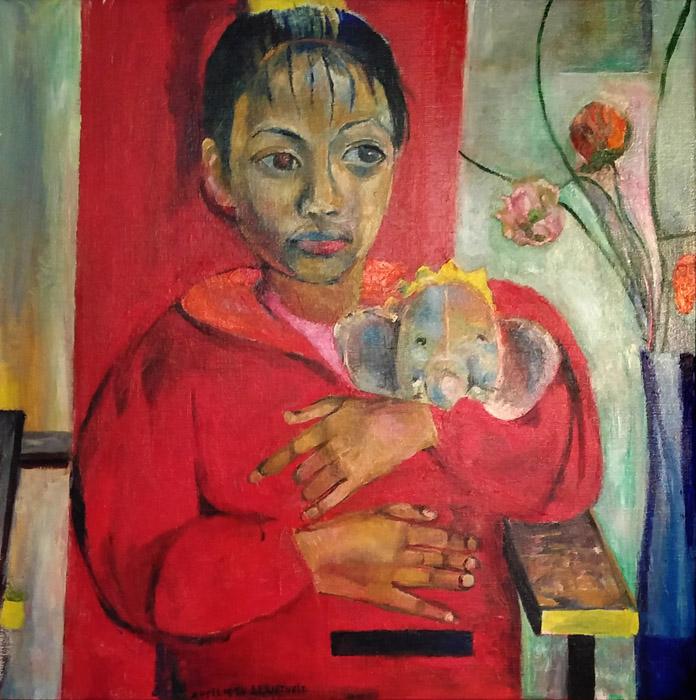 Julie en Babar op rood-blauwe stoel - acryl/doek, 57x57 cm - april 1994 EE Rietveld; linksonder