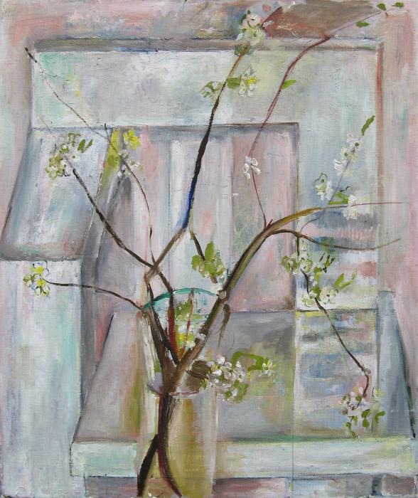 'Bloesemtak voor Steltmanstoel' – Acryl/doek -60x50 cm - niet gesigneerd, niet gedateerd (ong. 1992)