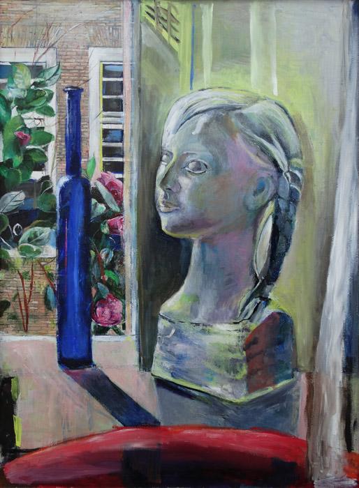 'Beeldje Martien met blauw vaasje'– acryl/masonite 75×55 cm - ongesigneerd