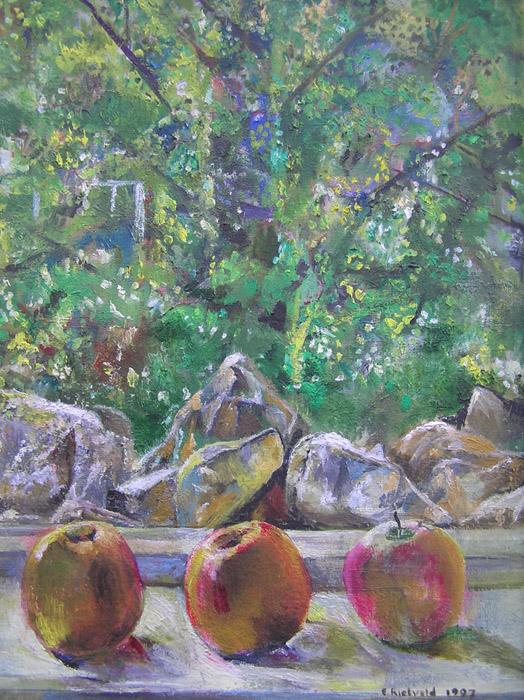 'Drie appels op vensterbank' - 55x45 cm acryl/linnen - E. Rietveld 1997; rechtsonder