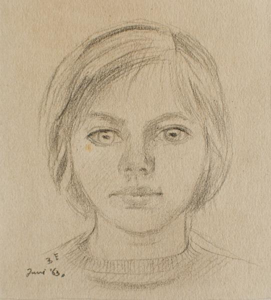 Eva Eskes (1963) - potlood/papier, 7.5x7.5 cm - B E Juni '63; linksonder