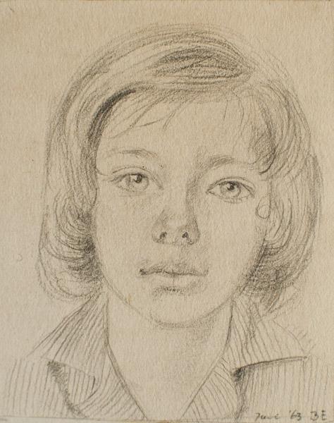 Elisabeth Eskes (1963) - potlood/papier, 7x8.5 cm - Juni '63 B E; rechtsonder