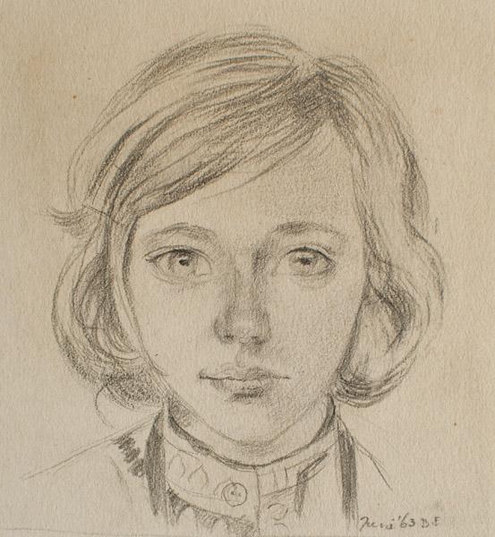 Martine Eskes (1963) - potood/papier, 9x9.5 cm- Juni '63 B.E; rechtonder