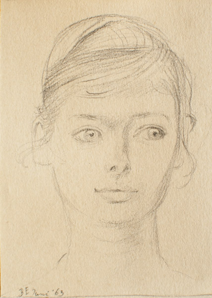 Vrouwke Coolwijk (1963) potlood/papier 6x8 cm- B.E. Juni '63; linksonder