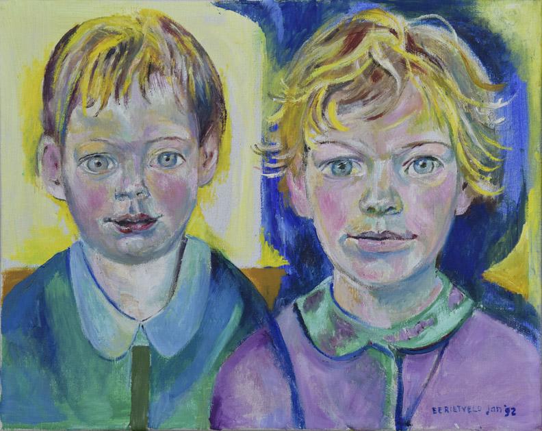 Ellen en Janneke - acryl?/doek 40x50 cm - EERietveld jan '92; rechtsonder