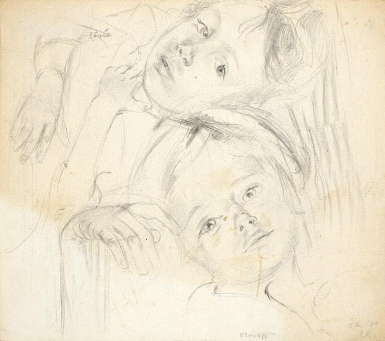 Elsie en Vrouwkje - potlood/papier 11x12,5 cm - ER 12 jan. '46; rechtsonder
